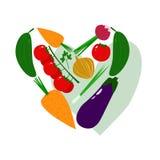 Φρέσκα Juicy λαχανικά στη μορφή του διανυσματικού llustration καρδιών Στοκ εικόνα με δικαίωμα ελεύθερης χρήσης