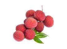 Φρέσκα lychees με τα φύλλα που απομονώνονται στο άσπρο υπόβαθρο Στοκ εικόνα με δικαίωμα ελεύθερης χρήσης