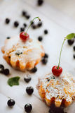 Φρέσκα muffins βακκινίων, που ξεσκονίζονται με τη ζάχαρη τήξης και το κεράσι Στοκ Εικόνα