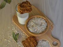 Φρέσκα oatmeal μπισκότα με το γάλα στοκ εικόνες