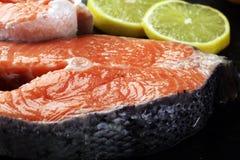 Φρέσκες ακατέργαστες μπριζόλες ψαριών σολομών με τα φρέσκα χορτάρια στην πέτρα backgroun Στοκ φωτογραφία με δικαίωμα ελεύθερης χρήσης