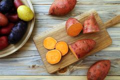 Φρέσκες γλυκές πατάτες στο επιτραπέζιο υπόβαθρο κουζινών Στοκ εικόνες με δικαίωμα ελεύθερης χρήσης