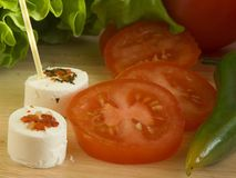φρέσκες ΙΙ ντομάτες τυριώ&n Στοκ Εικόνες