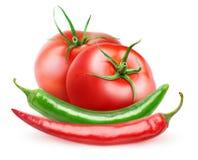 φρέσκες καυτές ντομάτες πιπεριών Στοκ Εικόνα