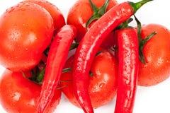 φρέσκες καυτές ντομάτες πιπεριών Στοκ Φωτογραφία