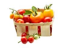 Φρέσκες κόκκινες και κίτρινες ντομάτες στο άσπρο υπόβαθρο που απομονώνεται Στοκ Φωτογραφία