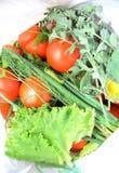 Φρέσκες κόκκινες ντομάτες και πράσινος Στοκ φωτογραφία με δικαίωμα ελεύθερης χρήσης