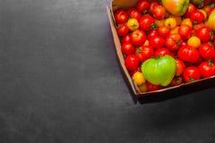 Φρέσκες ντομάτες σε ένα κιβώτιο για τη χρήση ως συστατικά για το μαγείρεμα με το copyspace Στοκ Εικόνες