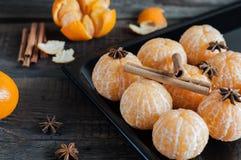 Φρέσκες ξεφλουδισμένες tangerine, anisetree και κανέλα Στοκ Φωτογραφίες