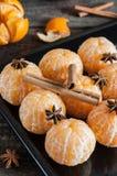 Φρέσκες ξεφλουδισμένες tangerine, anisetree και κανέλα Στοκ εικόνες με δικαίωμα ελεύθερης χρήσης