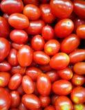 Φρέσκες οργανικές ντομάτες σταφυλιών σε έναν φραγμό σαλάτας Στοκ Εικόνες
