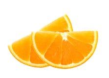Φρέσκες πορτοκαλιές φέτες που απομονώνονται στο λευκό Στοκ Εικόνα