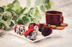 Φρέσκες φράουλες που βυθίζονται στις σκοτεινές νιφάδες W σοκολάτας και καρύδων Στοκ Εικόνα