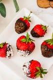 Φρέσκες φράουλες που βυθίζονται στις σκοτεινές νιφάδες W σοκολάτας και καρύδων Στοκ φωτογραφίες με δικαίωμα ελεύθερης χρήσης