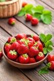 Φρέσκες juicy φράουλες με τα φύλλα Φράουλα στοκ φωτογραφίες