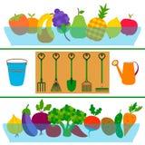Φρέσκια έννοια κήπων φρούτων και λαχανικών επίπεδη Στοκ Εικόνες
