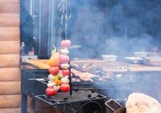 Φρέσκια ακατέργαστη μελιτζάνα μανιταριών κρεμμυδιών ντοματών στα οβελίδια πέρα από τη σχάρα ορειχαλκουργών πλέγματος ξυλάνθρακα Στοκ Εικόνες