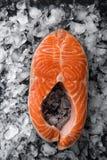 Φρέσκια ακατέργαστη μπριζόλα σολομών στον πάγο, Στοκ Φωτογραφίες