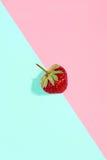 Φρέσκια κόκκινη φράουλα που απομονώνεται στο υπόβαθρο ρόδινος-μεντών Στοκ Εικόνες