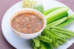 Φρέσκια κόλλα γαρίδων, ταϊλανδικά τρόφιμα Στοκ φωτογραφία με δικαίωμα ελεύθερης χρήσης