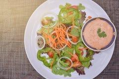 Φρέσκια μικτή φυτική σαλάτα στο πιάτο Στοκ Εικόνες