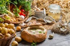 Φρέσκια ξινή σούπα χώρας που εξυπηρετείται στο ψωμί με τη μαντζουράνα Στοκ φωτογραφία με δικαίωμα ελεύθερης χρήσης