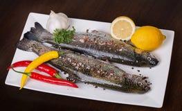 Φρέσκια πέστροφα σε ένα άσπρο πιάτο με το άλας, την πάπρικα, το τσίλι, το σκόρδο και το λεμόνι θάλασσας Στοκ Φωτογραφίες