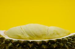 Φρέσκια περικοπή Durian που απομονώνεται στο κίτρινο υπόβαθρο στοκ φωτογραφία