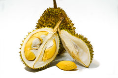 Φρέσκια περικοπή Durian στο άσπρο υπόβαθρο, μια άποψη κινηματογραφήσεων σε πρώτο πλάνο Durian, πολτός Durian, Durian D158 στοκ εικόνες