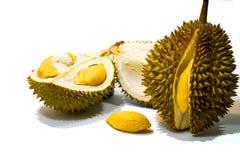Φρέσκια περικοπή Durian στο άσπρο υπόβαθρο, μια άποψη κινηματογραφήσεων σε πρώτο πλάνο Durian, πολτός Durian, Durian D158 στοκ φωτογραφία με δικαίωμα ελεύθερης χρήσης