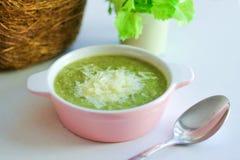 Φρέσκια πολτοποιηίδα σούπα με το μπρόκολο και ξυμένη παρμεζάνα σε ένα ρόδινο πιάτο σε ένα ελαφρύ υπόβαθρο στοκ εικόνα με δικαίωμα ελεύθερης χρήσης