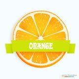 Φρέσκια πορτοκαλιά φέτα με το λωρίδα απεικόνιση αποθεμάτων