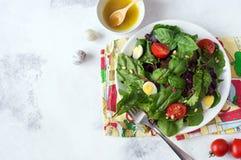 Φρέσκια πράσινη σαλάτα με τα καρύδια πεύκων ντοματών κερασιών και τα αυγά ορτυκιών Σάλτσα σαλάτας κατανάλωση υγιής ενάντια ως δολ Στοκ Εικόνα