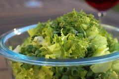φρέσκια πράσινη σαλάτα Πιάτο σαλάτας Θερινός γευματίζων στοκ εικόνες