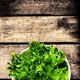 Φρέσκια πράσινη σαλάτα σε ένα κύπελλο στο ξύλινο υπόβαθρο - μαρούλι Sala Στοκ εικόνες με δικαίωμα ελεύθερης χρήσης