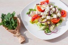 Φρέσκια σαλάτα άνοιξη με το αγγούρι, την ντομάτα, το τυρί και το arugula που απομονώνονται σε ένα άσπρο πιάτο Στοκ Εικόνες