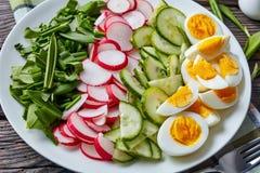 Φρέσκια σαλάτα άνοιξη των πρασίνων, αυγό, veggies στοκ φωτογραφία με δικαίωμα ελεύθερης χρήσης