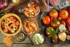 Φρέσκια σαλάτα ντοματών με τον τόνο και το τυρί τρόφιμα σιτηρεσίου πρόγευμα υγιές Στοκ Φωτογραφία