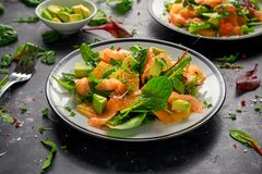 Φρέσκια σαλάτα σολομών με τα πορτοκαλιών και πράσινων λαχανικά αβοκάντο, Στοκ Φωτογραφίες