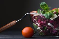 Φρέσκια σαλάτα στο κύπελλο γυαλιού με την ντομάτα Στοκ εικόνες με δικαίωμα ελεύθερης χρήσης