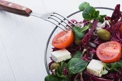 Φρέσκια σαλάτα στο κύπελλο γυαλιού με την ντομάτα Στοκ Εικόνες