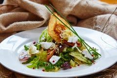 Φρέσκια σαλάτα άνοιξη με το τυρί φέτας, κόκκινο κρεμμύδι μέσα στοκ εικόνες