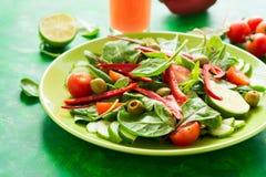 Φρέσκια σαλάτα άνοιξη με το arugula, το σπανάκι, τα φύλλα τεύτλων, τις ντομάτες, τις φέτες αγγουριών και το γλυκό πιπέρι Στοκ φωτογραφίες με δικαίωμα ελεύθερης χρήσης