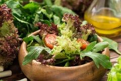 Φρέσκια σαλάτα από τα πράσινα, τις ντομάτες κερασιών και τα καρυκεύματα Στοκ Εικόνες