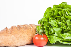 Φρέσκια σαλάτα και βιο ντομάτα με το ψωμί Στοκ Εικόνα