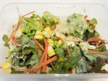 Φρέσκια σαλάτα με τα φρούτα, την ντομάτα, το καρότο, το καλαμπόκι, και το πράσινο λαχανικό τρόφιμα υγιή στοκ εικόνα