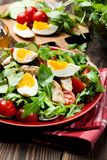 Φρέσκια σαλάτα με το κοτόπουλο, τις ντομάτες, τα αυγά και το arugula στο πιάτο Στοκ εικόνες με δικαίωμα ελεύθερης χρήσης
