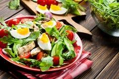 Φρέσκια σαλάτα με το κοτόπουλο, τις ντομάτες, τα αυγά και το arugula στο πιάτο Στοκ φωτογραφία με δικαίωμα ελεύθερης χρήσης
