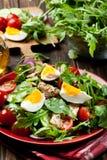Φρέσκια σαλάτα με το κοτόπουλο, τις ντομάτες, τα αυγά και το arugula στο πιάτο Στοκ φωτογραφίες με δικαίωμα ελεύθερης χρήσης