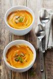 Φρέσκια σούπα καρότων στο άσπρο κύπελλο, διαιτητική φυτική σούπα Στοκ Εικόνες